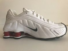 Preowned ECU Nike Shox R4 GS Size 8Y Youth White Black Varsity Red  335990-106  fashion  clothing  shoes  accessories  kidsclothingshoesaccs   unisexshoes ... b16651e01