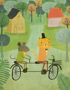 Printable wall art decor, Print nursery, cat and mouse riding a bicycle, oh mamma mia