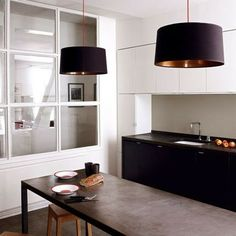 Designer Kitchens Do Not Have To Cost Much - OR: When Architects And Designers Use IKEA Kitchens Ikea Abstrakt cabinets by architect Philippe HardenIkea Abstrakt cabinets by architect Philippe Harden Black Kitchens, Cool Kitchens, Ikea Kitchens, Kitchen Black, Minimal Kitchen, Kitchen Dinning, Kitchen Island, Dining Room, Cuisines Design