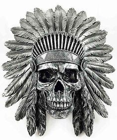 "Indian Chief Skull Warrior Wall Hanging Figurine Home Decor Plaque Skeleton 16""H 