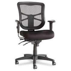 Alera Elusion Series Mesh High-Back Multifunction Chair, Black Chairs) Multifunction mechanism with seat glide allows back angle adjustment relative to seat, Best Ergonomic Office Chair, Best Office Chair, Ergonomic Chair, Office Chairs, Office Desk, Black Office Furniture, Black Office Chair, Furniture Decor, Paint Furniture