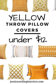 Cheap throw pillow covers are an easy and inexpensive way to change up your living room decor. These stylish throw pillows are colorful, modern, and Boho. Cheap Throw Pillow Covers, Yellow Pillow Covers, Boho Throw Pillows, Yellow Throw Pillows, Burlap Pillows, Home Decor Bedroom, Room Decor, Victorian Decor, Geometric Pillow