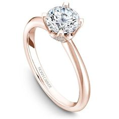A Noam Carver rose gold engagement ring with a round centerpiece and 32 diamonds. * Setting only - center diamond sold separately Round Solitaire Engagement Ring, Engagement Rings Round, Engagement Ring Styles, Crown Engagement Ring, Solitaire Rings, Thing 1, Wedding Rings, Wedding Stuff, Dream Wedding