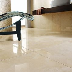 Nu Travertine Cream - porcelain made to look like travertine. LOVE these floor tiles!