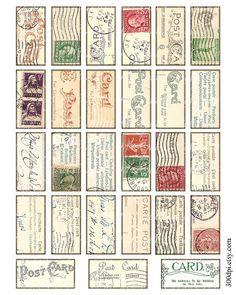 1 x 2 inch domino tile pendant images Printable Download Digital Collage Sheet background postcard carte postale stamp diy jewelry tag via Etsy