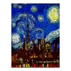 Starry Night Chicago, new print added to the Fig Street Studio Starry Night collection.