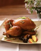 ... Roast hens as directed. Brush the apricot glaze over the hens during