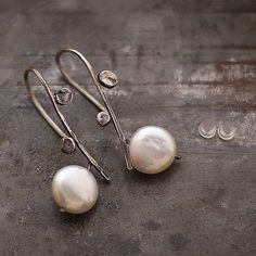 Earrings, handmade of oxidized sterling silver (925), white freshwater pearl, patina. Signed.   D I M E N S I O N S : pearls - 12 mm total length - 3.5