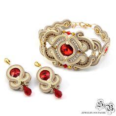 Soutache Oriental Set, Set di gioielli orientali, Beige rosso Soutache gioielli, gioielli unici Soutache, piccolo Dangle Earrngs, orecchini rosso