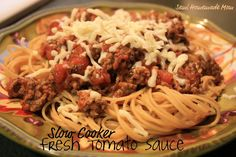 Semi Homemade Mom: Crazy Cooking Challenge: Slow Cooker Fresh Tomato Sauce, using fresh tomatoes. Pasta Recipes, Real Food Recipes, Crockpot Recipes, Dinner Recipes, Healthy Recipes, Cooker Recipes, Dinner Ideas, Dessert Recipes, Healthy Food