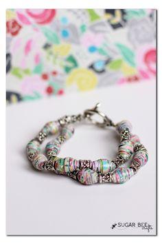beaded diy paper bracelet