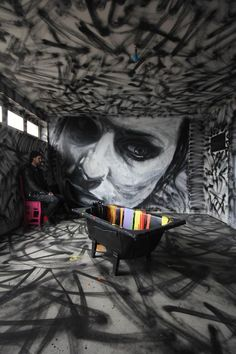 David walker Street art Scream says - The ceiling , floor, and walls shook with evil emanating out of the observer on the back wall. Murals Street Art, 3d Street Art, Amazing Street Art, Street Art Graffiti, Street Artists, Amazing Art, David Walker, Banksy, Performance Artistique