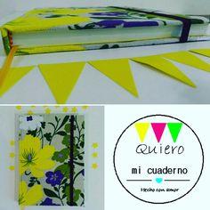 Cuaderno flores amarillo y violeta
