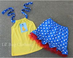 *Custom Boutique Clothing Snow White Short and Halter Top Yellow Polka Dot Set.    *Your choice of Sleeping Beauty, Snow White, Belle, or Cinderella on Top.    *Available in sizes 3m 6m 9m 12 18 24 2t 3t 4t 5t 6 7 8 9/10 girl.    ---------------------------------------------------------------------------------------------------------------    *Welcome to Lil Bug Clothing a place where you can find fun funky unique clothing for every little girl. Each item is custom handmade upon purchase…