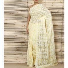 Yellow Chiffon Saree With Chikankari (100000043127)