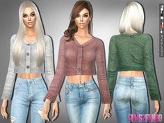 Clothing: 232 - Cropped Sweater by sims2fanbg from The Sims Resource • Sims 4 Downloads