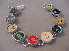 Typewriter Key bracelet RARE Red SELF STARTER  by magiccloset, $42.00