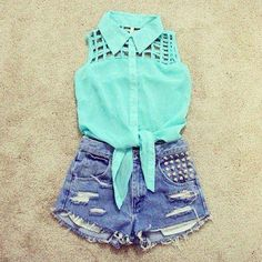 High waisted denim shorts and mint top<3