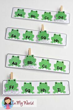 Spring Preschool Centers: clip the missing letter frog. Preschool Centers, Preschool Literacy, Preschool Themes, Preschool Lessons, Literacy Activities, Activities For Kids, Spring Preschool Theme, Teaching Abcs, Teaching Shapes