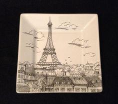 222 Fifth Appetizer City Scenes Plate Eiffel Tower Travel Paris 5\  - Multiple 6 & 222 Fifth City Scenes Paris Square Sepia Dinner Plate - Eiffel ...