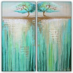 Two Trees in Green Landscape - Acrylic on Canvas