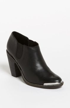 Love the metallic toe on this leather ankle boot!