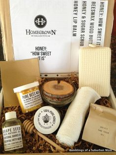 February 2014 The Homegrown Collective - Honey & Sugar Scrub, Honey Lipbalm, Beeswax wood butter