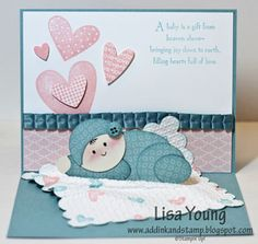 Adorable baby card made by Lisa Young of www.adinkandstamp.blogspot.com. This is another pop up card. I want the tutorial for this!