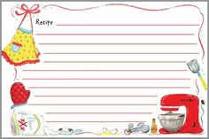 Gina B. Designs Red Mixer Recipe Cards: Colorful recipe cards with lines on front and back. Package of 20 x Proudly made in the U. Recipe Card Sizes, Scrapbook Recipe Book, Family Recipe Book, Recipe Books, Recipe Holder, Printable Recipe Cards, Recipe Binders, Card Book, Recipe Organization