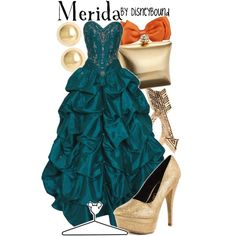 Merida by leslieakay on Polyvore featuring moda, PacificPlex, Promise Shoes, Menbur, House of Harlow 1960, Roberto Coin, Disney and disney