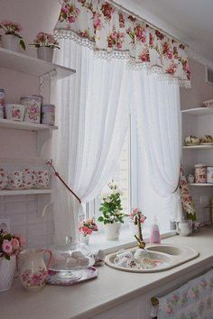 Find more ideas: Shabby Chic Kitchen Curtains Vintage Kitchen Curtains Country Kitchen Curtains Kitchen Curtains With Blinds Long Rustic Kitchen Curtains 10 DIY Dorm Decor Simple and Easy Landscape Painting Extremely Beautiful Pastel Watercolor Paintings Curtains With Blinds, Shabby Chic Kitchen Curtains, Shabby Chic Kitchen Decor, Cozy House, Chic Decor, Country Kitchen Curtains, Chic Bedroom, Trending Decor, Curtain Decor