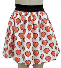 8 Bit Heart Full Skirt by GoFollowRabbits on Etsy, $45.99