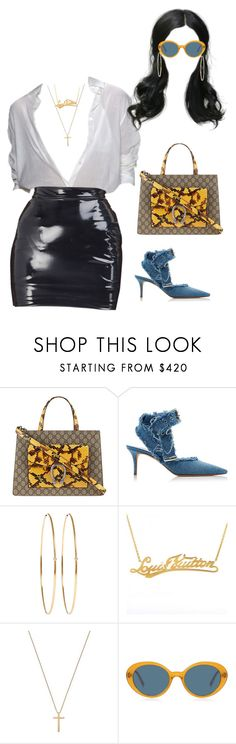 """""""Out in NY"""" by nytown ❤ liked on Polyvore featuring Gucci, Monse, Jennifer Meyer Jewelry, Louis Vuitton and Oliver Peoples"""