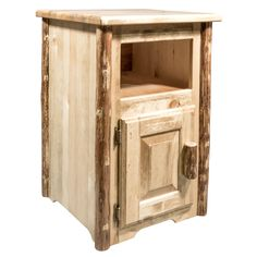 Add a rustic touch to your bedside with the Montana Woodworks Glacier Country End Table . Two open storage spaces provide ample space for storing books,. End Tables For Sale, Cool Tables, Old West, Western Style, Hobby Lobby, Rustic Furniture, Furniture Decor, Western Furniture, Log Coffee Table