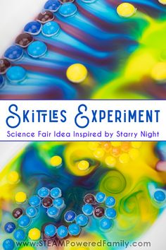 Not your typical Skittles Experiment! Inspired by gorgeous Skittles colors we used the scientific method to create a stunning science fair project with art. Science Activities For Kids, Preschool Science, Stem Activities, Science Ideas, Science Fair Board, Science Fair Projects, Gummy Bear Experiment, Scientific Method Worksheet, Stem Projects