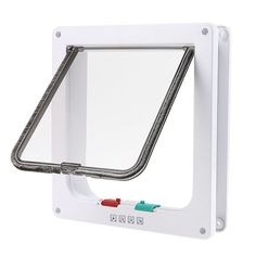 wowowo(TM) Small Cat Flap with 4 Way Locking Lockable cat Door, Plastic, White >>> See this awesome image    Cat Doors, Steps, Nets and Perches