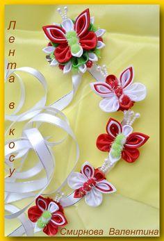 Kanzashi, Ribbon Work, Fabric Ribbon, Cute Bows, Handicraft, Ribbons, Fabric Crafts, Hair Bows, Diy And Crafts