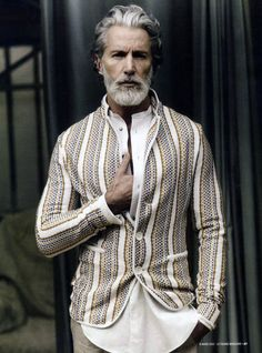Now, I know I would not suit this style whatsoever BUT ... I find it provocative! If I age well ... and can grow an awesome beard, I hope to pull this off haha    Anghel Beltrán via Olek Janusz onto Hot Mature Men