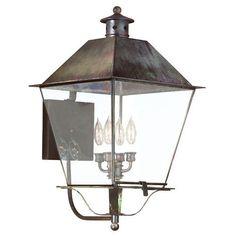 Montgomery Charred Iron Four Light XXLarge Wall Mount Post Mount Metal Top Lantern