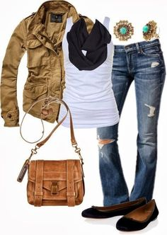 Fall Outfit With Brown Jacket and Flats.