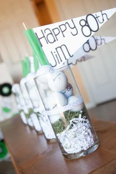 80th birthday party centerpieces - golf theme