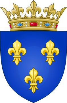 "arms of ""France Moderne"": Azure, 3 fleurs-de-lis or simplified version of France Ancienne. associated w/French monarchy in historical context & continues 2 appear in arms of King of Spain & Grand Duke of Luxembourg & members of House of Bourbon. According 2 French historian Georges Duby, 3 petals represent medieval social classes: those who worked, those who fought & those who prayed."