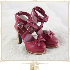 YomiSama BJD Exclusive Princess bow shoes deep red with carved cork heel - Taobao for SD16 / SD10 / DD 16 / GR / DD