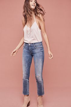 Mother Rascal Mid-Rise Straight Ankle Jeans #anthropologie