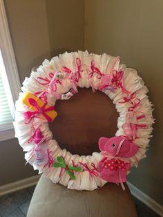 Baby Girl Diaper Wreath