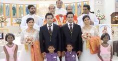 Novias gemelas se casan con novios gemelos en una boda con sacerdotes gemelos y niñas de las flores gemelas