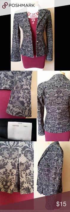 Charcoal gray jacket Damask pattern, soft corduroy fabric. Too snug, never worn! Love this jacket!! Jackets & Coats Blazers