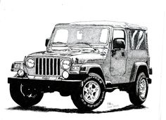Pen & Ink Drawing, A4 - Jeep Wrangler by PetesPiccies on Etsy