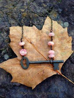 Antique key necklace with pink Peruvian opal, rhodonite semi precious gemstone beads copper
