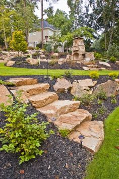 38 Amazingly Green Front-yard & Backyard Landscaping Ideas Get Basic Engineering, Home Design & Home Decor. Amazingly Green Front-yard & Backyard Landscaping Ideasf you're anything like us, y Landscaping Retaining Walls, Hillside Landscaping, Landscaping With Rocks, Front Yard Landscaping, Landscaping Ideas, Outdoor Landscaping, Landscape Stairs, House Landscape, Garden Landscape Design